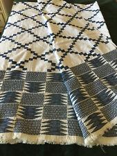 "Vintage Handwoven Blue Design + End Design-African Kente Cloth (66""x 45.5"")"