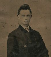 Old Vintage Antique Tintype Photo Cool Young Man Teen Boy w/ Pompadour Hairstyle