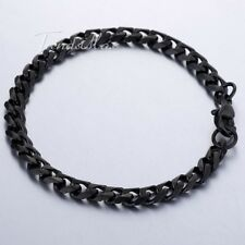Stainless Steel Link Bracelet Curb Chain Black Silver Gold For Mens 3/5/7/9/11mm