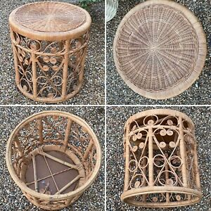 🌟Vintage Boho Peacock Bamboo Rattan Wicker Round Side Table Stool Plant Stand
