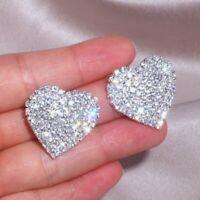 Luxury Crystal Heart Love Drop Earrings Stud Dangle Women Wedding Jewelry Xmas