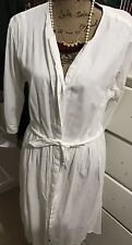 Gap Womens White Pin Striped Shirt Dress/ Empire Waist 10 T, EEUC