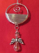 Hand Crafted Crystal Tear Drop Angel Christmas Ornament~