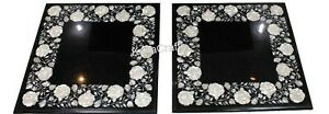 """Set of 2 Pieces Coffee Table Top Black Square Marble Sofa Table for Hotel 20"""""""