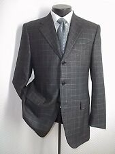 Piacenza Gray Plaid 3 Buttons Side Vents Cashmere & Silk Blend Jacket Coat 40 R