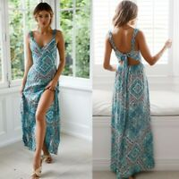 UK Women's Summer Boho Sling Maxi Dresses Evening Cocktail Party Beach Sundress