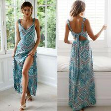 UK Women's Summer Boho Sling Maxi Dresses Evening Cocktail Party Beach Sundress
