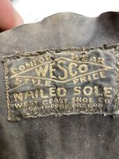 VTG 30s WESCO LOGGER  Workwear Nailed Sole Corks Caulks Rare Boots 10.5