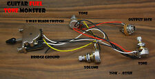 TONE MONSTER Guitar Wiring Harness 5W/1V/2T/J 5 Way Switch Volume (2) Tone 250K