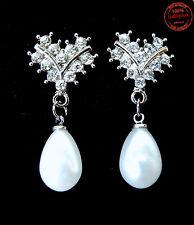 Orecchini Pendenti Perle color Bianche Strass  Victorian Nozze Sposa Matrimonio