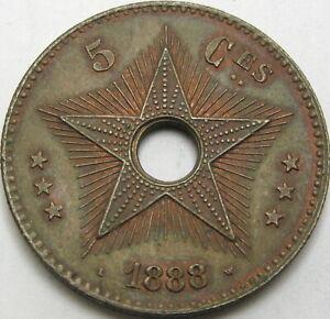 CONGO (Free State) 5 Centimes 1888 - Copper - XF - 2443 ¤