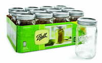 Ball Glass Mason Jar W/Lid & Band / Wide Mouth / 32 Ounces / 12 Count