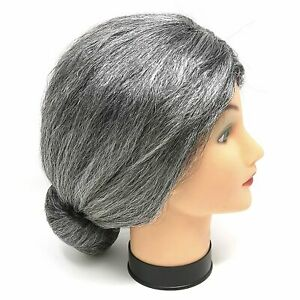 Skeleteen Old Lady Costume Wig - Silver Granny Bun Wig Costume Accessories