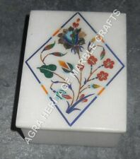 """4""""x3""""x2"""" White Marble Jewelry Storage Box For Girls Marquetry Inlay Decor H3391"""