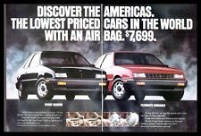1991 Dodge Shadow~Plymouth Sundance Automobiles Cars Photo Print Ad  (ADS2)