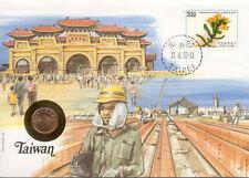 superbe enveloppe TAIWAN pièce monnaie timbre