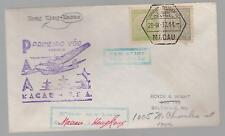 1937  Macau First Flight Cover  to Hong Kong Transpacific