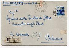 STORIA POSTALE 1948 REPUBBLICA LIRE 30 SU RACCOMANDATA TRAPANI 27/1 D 07288