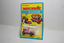 MATCHBOX SUPERFAST #2 HOT ROD JEEP, PINK, GREEN BASE, BLACK EXHAUST, NEW IN PACK