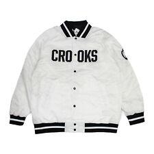 Crooks Castles Mens Teamster Woven Stadium Jacket White Size 2XL