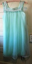 "Vintage Aqua Blue Nightgown Double Layer Nylon Size Small 32"""