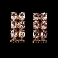 Unheated Oval Pink Morganite 4x3mm Black Spinel 925 Sterling Silver Earrings