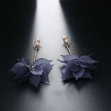 Women Elegant White Ear Stud Crystal Flower Drop Long Dangle Earrings Jewelry
