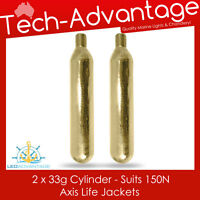 2 X AXIS 33g SUIT 150N LIFE JACKET INFLATABLE REPLACEMENT RECHARGE GAS CYLINDERS