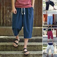 New Men Summer Harem Pants Linen Cropped Pant Capri Trousers Casual Solid Loose