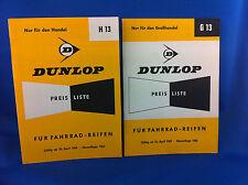 2 Dunlop Preislisten Fahrradreifen H13 G13 1959 Neuaufl. 1963   ***WIE NEU***
