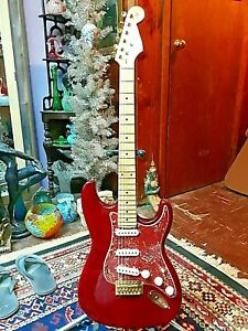 FENDER Stratocaster Partscaster AMERICAN NECK 2009 & GOLD PARTS GORGEOUS!