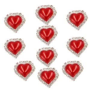 10pcs Rhinestone Crystal Heart Button Flatback for Embellishment Bright Red
