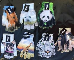 Ladies Gloves with Touch Screen Fingers. Elephant, Horse, Giraffe, white Tiger +