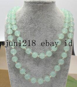 Fashion 8/10/12mm Natural Light Green Emerald Gemstone Round Beads Necklace 36''