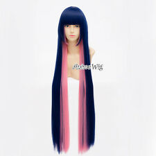 100CM Anime Panty and Stocking Anarchy Straight Blue Mixed Pink Bang Cosplay Wig