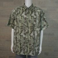 Island Shores Button Camp Shirt Men's 2XL Green Brown Tropical Hawaiian Floral