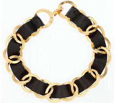 CHANEL Vintage Leather Gold Necklace / Kette