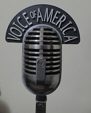 Call letters Flag for EV Cardyne vintage microphone Voice of America 2-sided  3D
