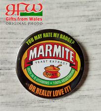 Marmite - hate it/love it - Large Button Badge - 58mm diam