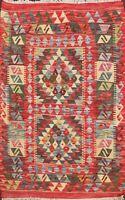 3'x4' Reversible Hand-Woven Kilim Geometric Wool Area Rug Pastel Color Oriental