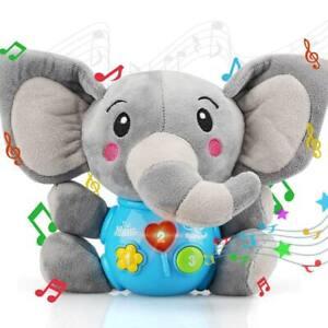 Peluche Elefantino Giocattolo Prima Infanzia Bambino Neonato Elefante Luci Suoni
