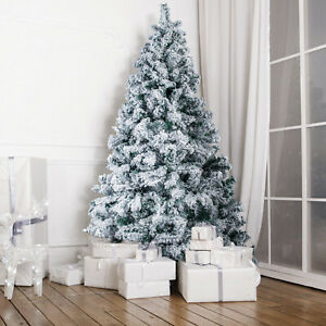 5/6Ft Christmas Popup Tree White Flocking Festive Decor Xmas Spruce Indoor&Green