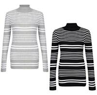 LADIES JUMPER ROLL NECK FINE KNIT STRIPED JUMPER BRAVE SOUL UK 10-16 MONIQUE