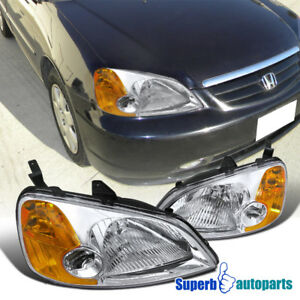 For 2001-2003 Honda Civic EX LX Headlights Head Lamps Pair Replacement