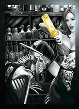 BLACK FRAMED SPIRAL LAST CALL DRUNK SKELETONS - 3D FLIP PICTURE 365mm x 465mm