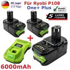 2X 6.0AH Für Ryobi One+ Plus P108 Akku 18V RB18L50 P104 RB18L40 P107+ Ladegerät