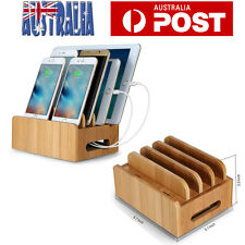 Bamboo Charging Dock Station Charger Holder Stand Multi-Device For Smartphone AU