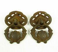 Antique Drop Pulls Shabby Art Nouveau Single Screw