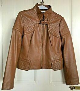 Ladies Brown LEATHER Jacket | Size 12 | M&S Autograph | Zipped | Lined | VGC