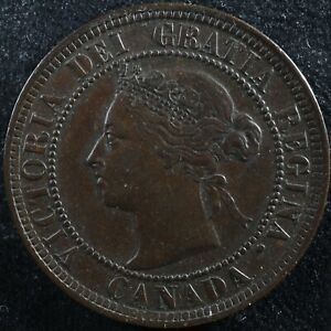 1 cent 1884 Obv. 2 Canada one large penny Queen Victoria c ¢ VF-30